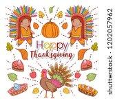 men indigenous with pumpkin and ...   Shutterstock .eps vector #1202057962