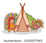 man indigenous with turkey and...   Shutterstock .eps vector #1202057965