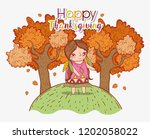 woman indigenous with autumn...   Shutterstock .eps vector #1202058022