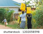 Women Carrying Water Cans In...