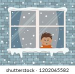 window on a brick wall on a... | Shutterstock .eps vector #1202065582