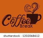 delicious coffee break label | Shutterstock .eps vector #1202068612