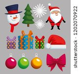christmas decoration set icons | Shutterstock .eps vector #1202070922