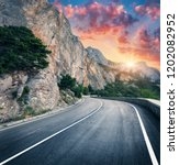mountain road and beautiful sky ... | Shutterstock . vector #1202082952