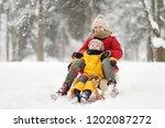 little boy and mother sliding... | Shutterstock . vector #1202087272