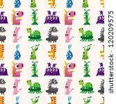 seamless monster pattern | Shutterstock .eps vector #120209575