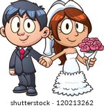 cartoon bride and groom. vector ... | Shutterstock .eps vector #120213262