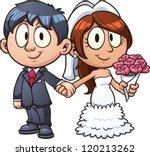 cartoon bride and groom. vector ... | Shutterstock .eps vector #120213262