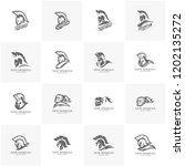 set of spartan warrior logo... | Shutterstock .eps vector #1202135272