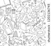 back to school seamless pattern....   Shutterstock . vector #1202136745