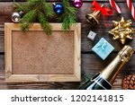 new year's set with champagne... | Shutterstock . vector #1202141815
