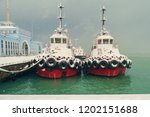 snow covered tugboats at snowy... | Shutterstock . vector #1202151688