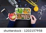 top view showing hands eating... | Shutterstock . vector #1202157958