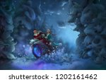 santa claus and snow maiden in... | Shutterstock . vector #1202161462