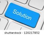 blue solution keyboard button | Shutterstock . vector #120217852