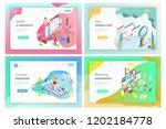 isometric vector landing page... | Shutterstock .eps vector #1202184778