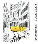 lisbon. lisbon street with ...   Shutterstock .eps vector #1202198275