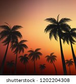 orange sunset in a tropical... | Shutterstock . vector #1202204308