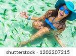 happy woman joy fun on clear... | Shutterstock . vector #1202207215