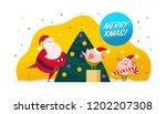 flat merry christmas...   Shutterstock . vector #1202207308