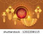 happy diwali festival with oil... | Shutterstock .eps vector #1202208115