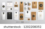 branding mockup set of coffee... | Shutterstock .eps vector #1202208352
