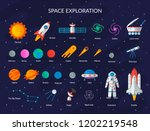 big space set  planets  the sun ... | Shutterstock .eps vector #1202219548