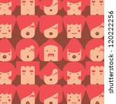 funny simple faces seamless pattern vector eps 10 - stock vector