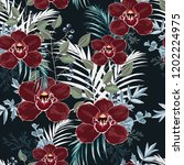 burgundy orchid  herbs  berries ... | Shutterstock .eps vector #1202224975