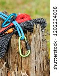 metal carabine and rope for... | Shutterstock . vector #1202234038