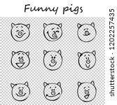 funny pigs. doodle animal faces ... | Shutterstock .eps vector #1202257435