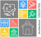 simple set of  10 outline icons ... | Shutterstock .eps vector #1202267302