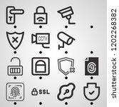 simple set of  16 outline icons ... | Shutterstock .eps vector #1202268382