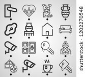 simple set of  16 outline icons ... | Shutterstock .eps vector #1202270548