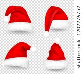 christmas santa claus hats with ... | Shutterstock .eps vector #1202276752