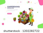 bud concept  florist with... | Shutterstock . vector #1202282722