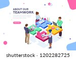 startup employees. goal... | Shutterstock . vector #1202282725