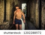handsome muscular shirtless man ... | Shutterstock . vector #1202288572