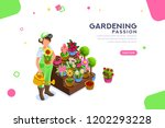 bud concept  florist with... | Shutterstock .eps vector #1202293228