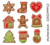 christmas gingerbread vector... | Shutterstock .eps vector #1202299912
