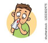 boy with bleeding nose. cartoon ... | Shutterstock .eps vector #1202302975