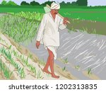 indian farmer on his farm doing ... | Shutterstock .eps vector #1202313835