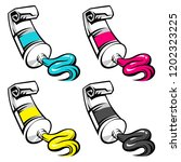 set of cmyk colors are squeezed ... | Shutterstock .eps vector #1202323225