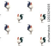 Vector Cute Roosters Pattern....