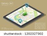 isometry city map navigation... | Shutterstock . vector #1202327302