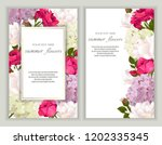 vector banners set with roses ... | Shutterstock .eps vector #1202335345