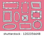 set of hand drawn sketch frames.... | Shutterstock .eps vector #1202356648