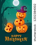 halloween background  pumpkins. ... | Shutterstock .eps vector #1202384002