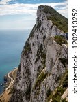 The summit of the Rock of Gibraltar looking South towards Africa . Gibraltar is a British Overseas Territory located on the southern tip of Spain. - stock photo