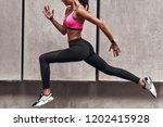 long jump. modern young woman... | Shutterstock . vector #1202415928